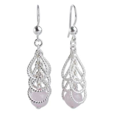 Handcrafted Sterling Waterfall Earrings with Rose Quartz