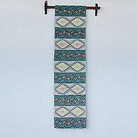 Wool tapestry, 'Dreaming in Blue' - Hand Woven Wool Tapestry with Inca Glyphs from Peru