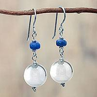 Sodalite dangle earrings, 'Lunar Adventure' - Sterling Silver Earrings with Sodalite Crafted by Hand