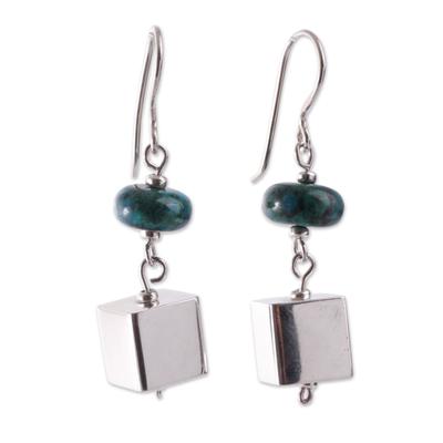 Chrysocolla Gems on Sterling Silver Earrings from Peru