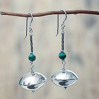 Malachite dangle earrings, 'Elegant Harmony' - Malachite and Sterling Silver Earrings Crafted by Hand