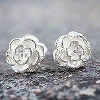 Silver button earrings, 'Precious Gardenia' - Handcrafted Silver Flower Earrings from Peru