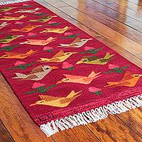 Wool rug, 'Red Birds on the Wing' (2x5) - Peruvian Handwoven Red Wool Rug with Birds (2x5)