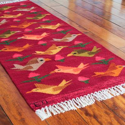 Wool rug, Red Birds on the Wing (2x5)