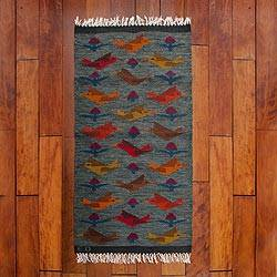 Wool rug, 'Blue Birds on the Wing' (2x5) - Handwoven Bird Theme Peruvian Blue Wool Rug (2x5)
