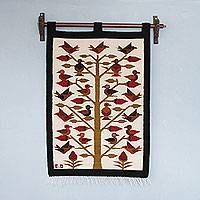 Wool tapestry, 'Day of the Birds' - Handmade Bird Theme Andean Wool Tapestry