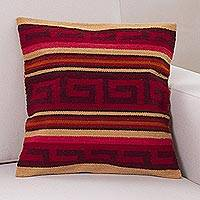 Wool cushion cover, 'Red Inca Sunset' - Wool Hand Woven Inca Patterned Cushion Cover