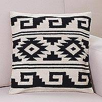 Wool cushion cover, 'Andean Geometry' - Peru Black and White Handwoven Wool Cushion Cover