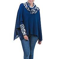 100% alpaca poncho with sleeves, 'Blue Roses' - Blue and White Baby Alpaca Poncho with Rose Motif