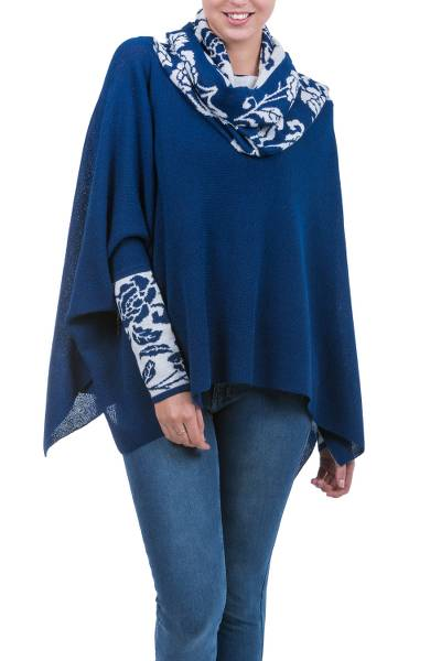 Blue and White Baby Alpaca Poncho with Rose Motif