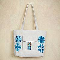 Cotton shoulder bag, 'Blue Garden Flowers' - Embroidered Blue and Ivory Cotton Shoulder Bag