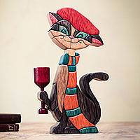 Cedar and mahogany sculpture, 'Parisian Cat' - Colorful Kitty Cat Wood Sculpture from Peru