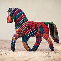 Cedar and mahogany sculpture, 'Rainbow Horse' - Colorful Artisan Crafted Peruvian Horse Sculpture