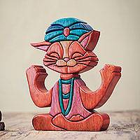 Wood statuette, 'Feline Guru' - Smiling Cat Wood Statuette in Yoga Meditation Pose