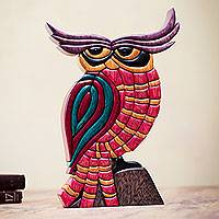 Cedar and mahogany wood statuette, 'Pensive Owl' - Multicolor Owl Statuette Cedar and Mahogany Sculpture