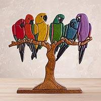 Cedar and mahogany wood sculpture, 'Rainbow Macaws' - Multi Color Birds on Tree Sculpture in Mahogany and Cedar