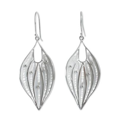 Silver Filigree Handmade Sterling Leaf Earrings from Peru