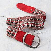 Alpaca blend and suede accent belt, 'Cuzco Red' - Hand Woven Alpaca Blend Belt with Red Suede Leather