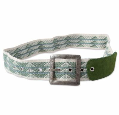 Alpaca Blend and Green Suede Belt Woven by Hand