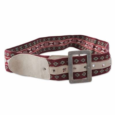 Alpaca Blend Red Belt with Beige Suede Woven by Hand
