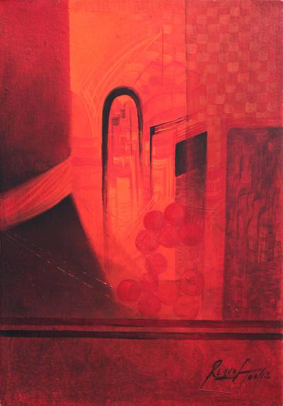 'Appearance in Red' - Cityscape Painting in Luminous Red