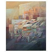 'Little Corner of Lima' - Pastel Abstract Architectural Study in Oils on Canvas