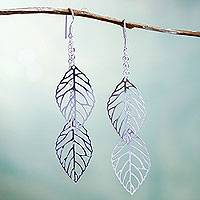 Sterling silver waterfall earrings, 'Amazonian Illusion' - Sterling Silver Leaf Waterfall Earrings Artisan Jewelry