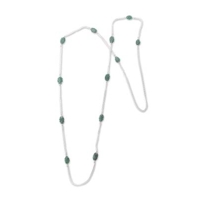 Long Sterling Silver Station Necklace with Amazonite Beads