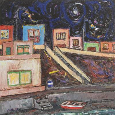 'Held By Night, San Bartolo Beach' - Impressionist Style Painting Peruvian Cityscape Signed