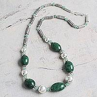 Emerald and aventurine beaded necklace, 'Andean Meadow' - Emerald and Aventurine Handcrafted Andes Long Necklace