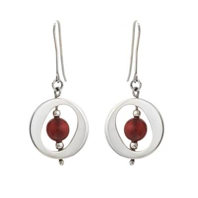 Contemporary Free Trade Silver and Carnelian Earrings