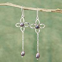 Cultured pearl dangle earrings, 'Raining Daisies' - Fair Trade Silver and Grey Cultured Pearl Earrings