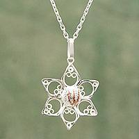 Sterling silver filigree necklace, 'Quechua Star' - Sterling Silver Filigree Star Necklace with Copper Accents