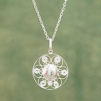 Sterling silver filigree necklace, 'Quechua Crown' - Sterling Silver Filigree Necklace with Copper Accents