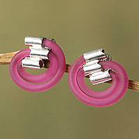 Sterling silver button earrings, 'Fuchsia Twister' - Natural Caucho Sterling Silver Button Earrings from Peru