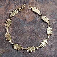 Gold plated link bracelet, 'Elephant Dignity' - 18k Gold Plated Sterling Silver Bracelet with Elephant Links