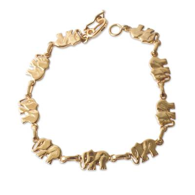18k Gold Plated Sterling Silver Bracelet with Elephant Links