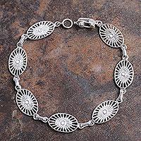 Sterling Silver Link Bracelet Solar Star (peru)