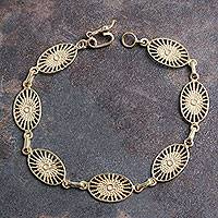 Gold plated link bracelet, 'Solar Star' - 18k Gold Plated Sterling Silver Bracelet from Peru