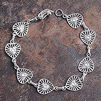 Sterling silver heart link bracelet, 'Dignified Heart' - Sterling Silver Bracelet with Heart Links from Peru