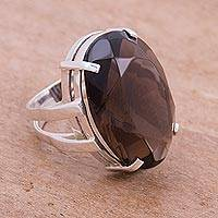 Smoky quartz cocktail ring, 'Joy of Life' - Artisan Crafted Jewelry Smoky Quartz Ring from Peru