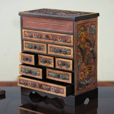 Cedar and leather jewelry box, 'Nature's Glory' - Flora and Fauna Cedar and Leather Jewelry Box with Drawers