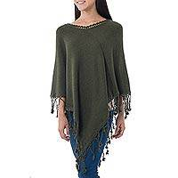 Alpaca blend poncho, 'Verdant Horizon' - Green Alpaca Blend Poncho with Pompoms from Peru