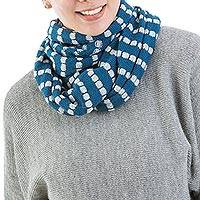 Alpaca blend infinity scarf, 'Parallel Blue' - Alpaca Blend Infinity Scarf Knitted in Steel Blue and Grey