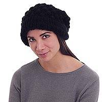 Alpaca blend hat, 'Pompoms' - Black Alpaca Blend Hat Knitted by Hand in Peru