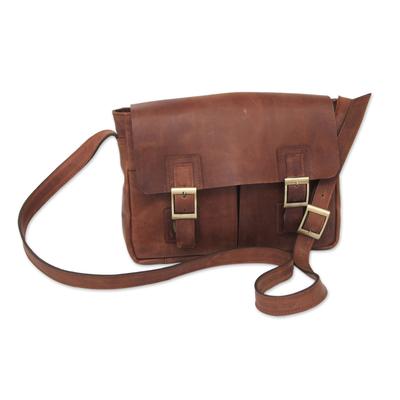 Leather messenger bag, 'Wandering Caramel' - Caramel Brown Leather Messenger Bag with Multi Pockets