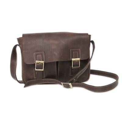 Leather messenger bag, 'Wandering Coffee' - Dark Brown Leather Messenger Bag with Multi Pockets