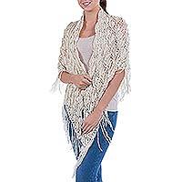 100% alpaca shawl, 'Piura Fans' - Hand Crocheted Alpaca Shawl Ivory colour Wrap from Peru