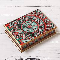 Reverse painted glass box, 'Coral Inca Sunflower' - Red Inca Motif Decorative Reverse Painted Glass Box