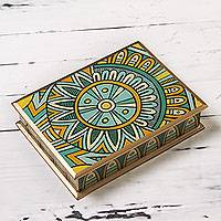 Reverse painted glass box, 'Inca Sunflower' - Artisan Crafted Blue and Yellow Reverse Painted Glass Box